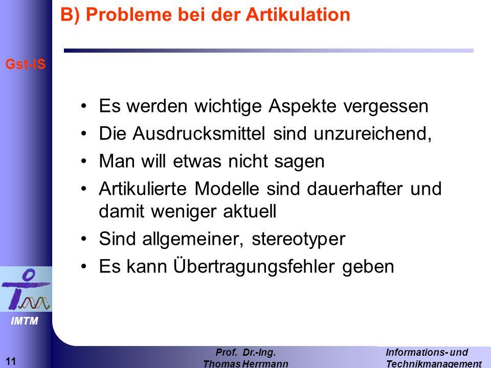 B) Probleme bei der Artikulation