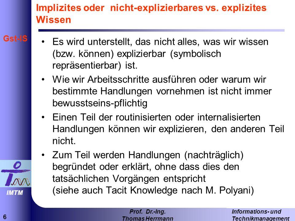 Implizites oder nicht-explizierbares vs. explizites Wissen