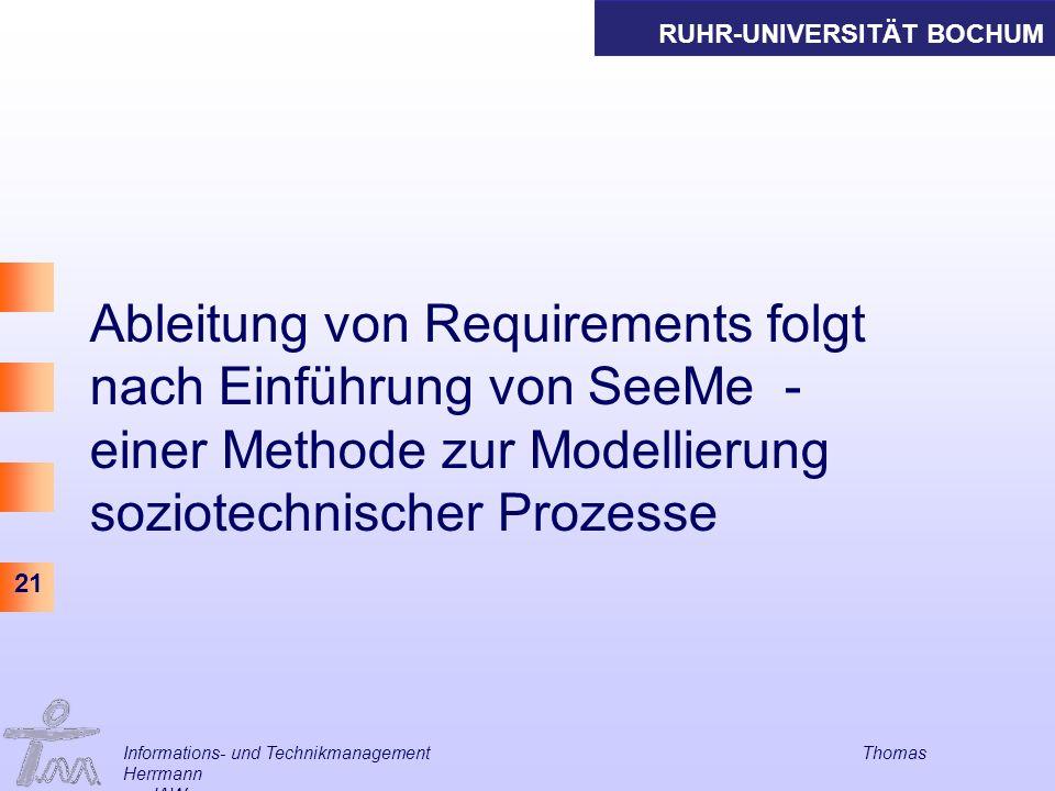 Ableitung von Requirements folgt nach Einführung von SeeMe - einer Methode zur Modellierung soziotechnischer Prozesse