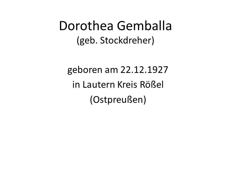 Dorothea Gemballa (geb. Stockdreher)