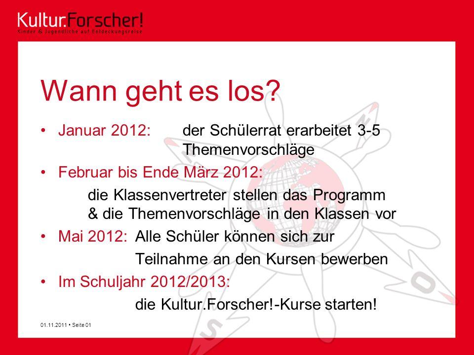 Wann geht es los Januar 2012: der Schülerrat erarbeitet 3-5 Themenvorschläge. Februar bis Ende März 2012: