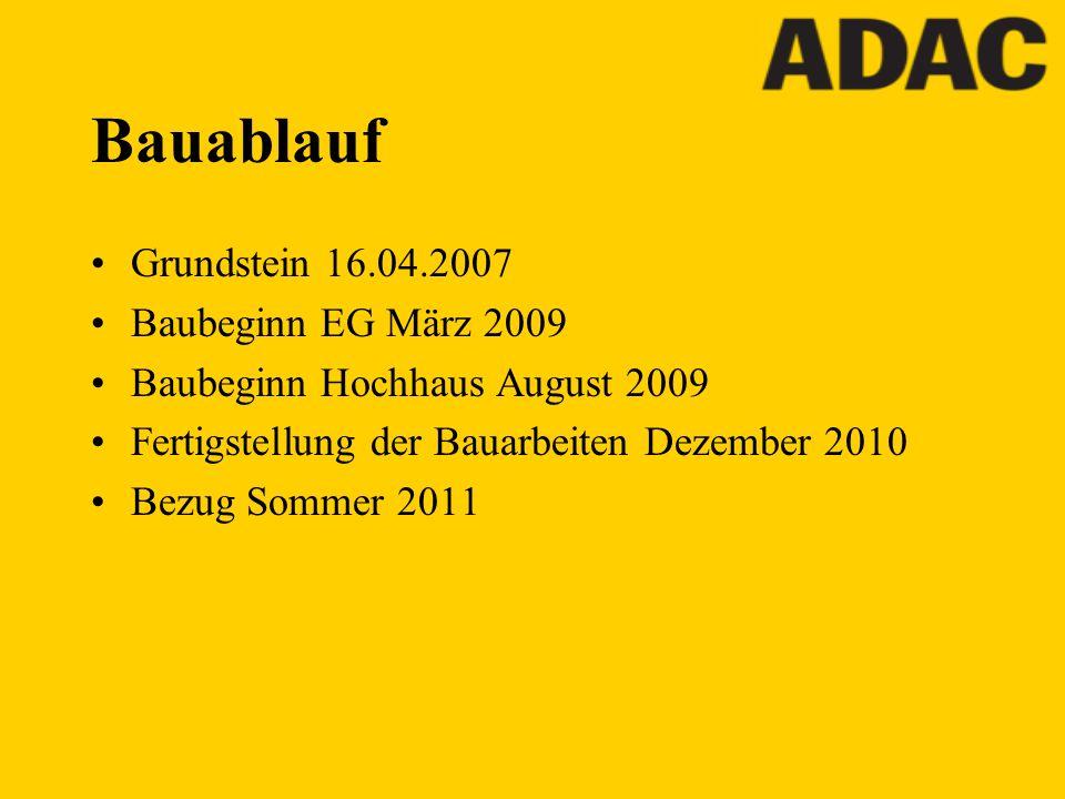Bauablauf Grundstein 16.04.2007 Baubeginn EG März 2009