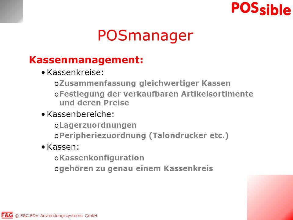 POSmanager Kassenmanagement: Kassenkreise: Kassenbereiche: Kassen: