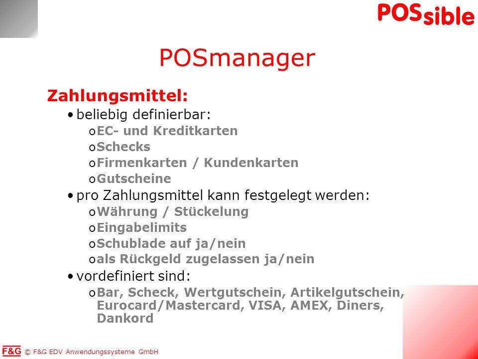 POSmanager Zahlungsmittel: beliebig definierbar:
