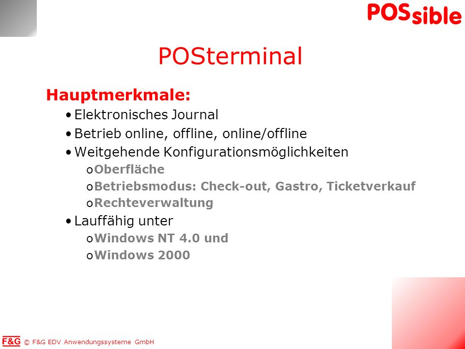 POSterminal Hauptmerkmale: Elektronisches Journal