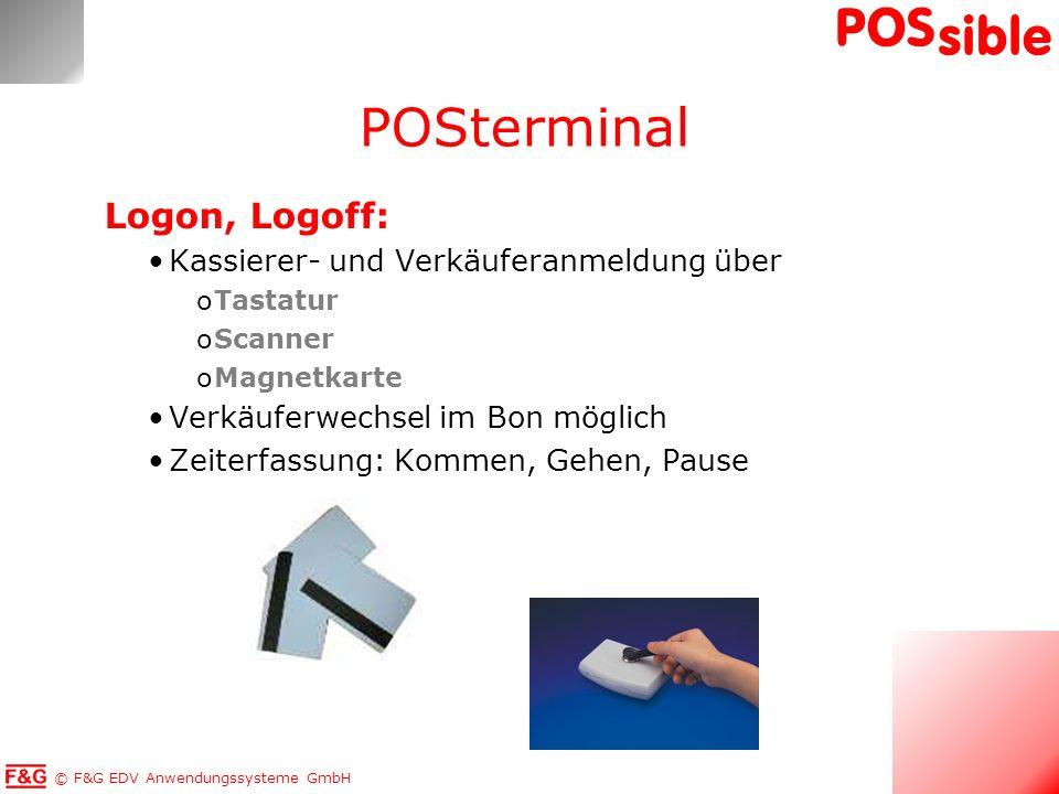 POSterminal Logon, Logoff: Kassierer- und Verkäuferanmeldung über