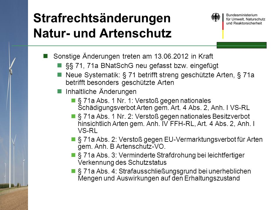 Strafrechtsänderungen Natur- und Artenschutz