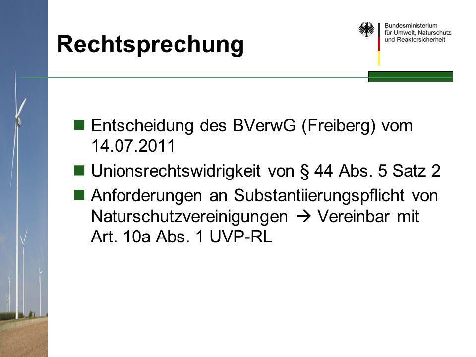 Rechtsprechung Entscheidung des BVerwG (Freiberg) vom 14.07.2011