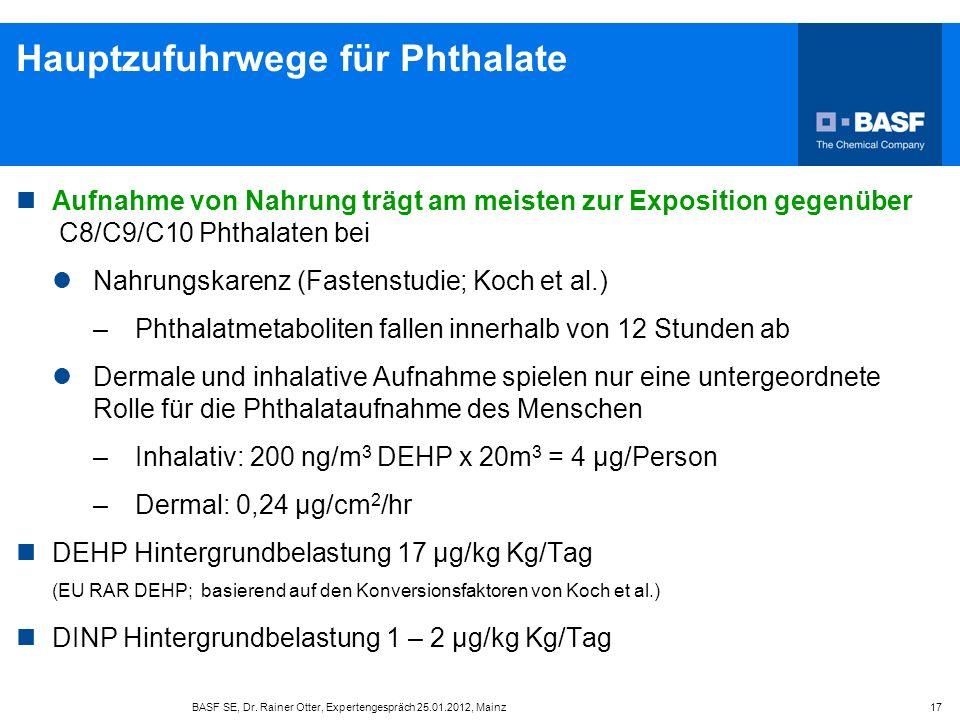 Hauptzufuhrwege für Phthalate