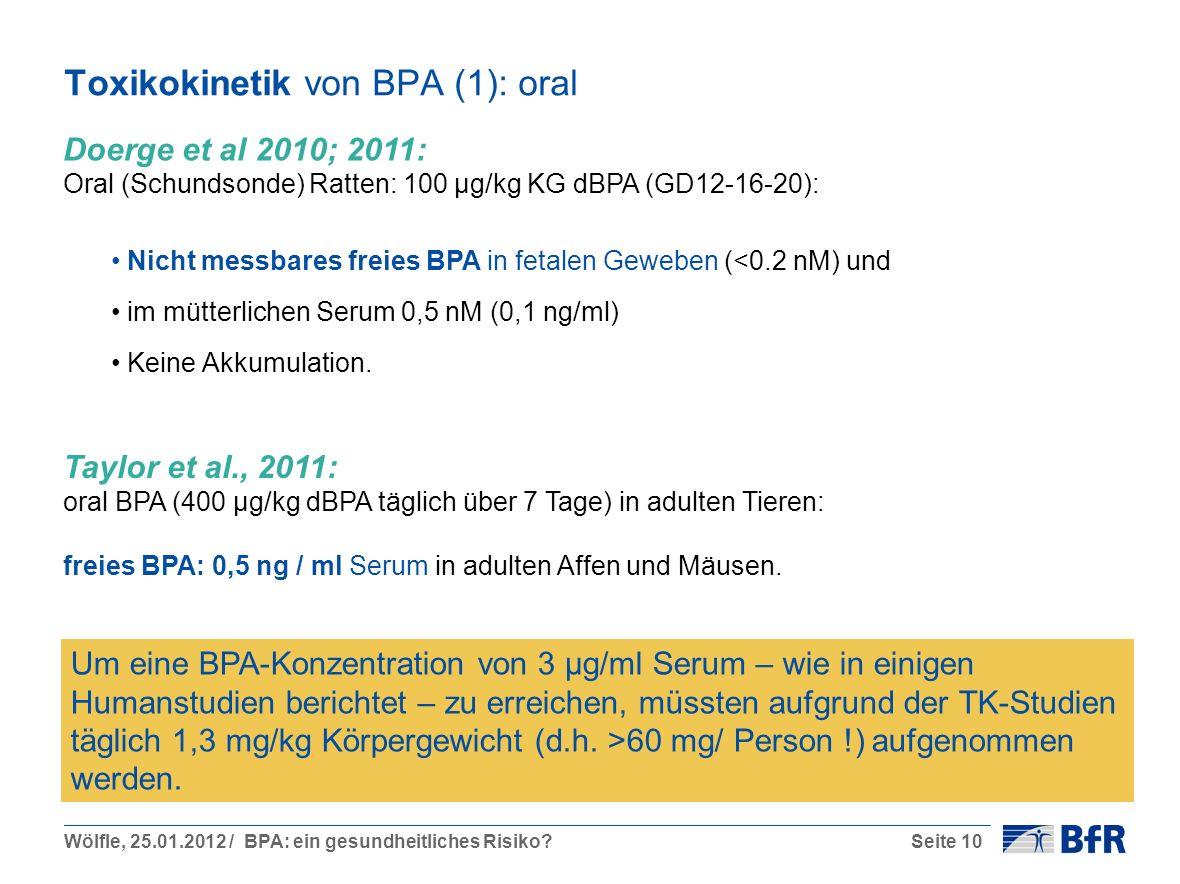 Toxikokinetik von BPA (1): oral