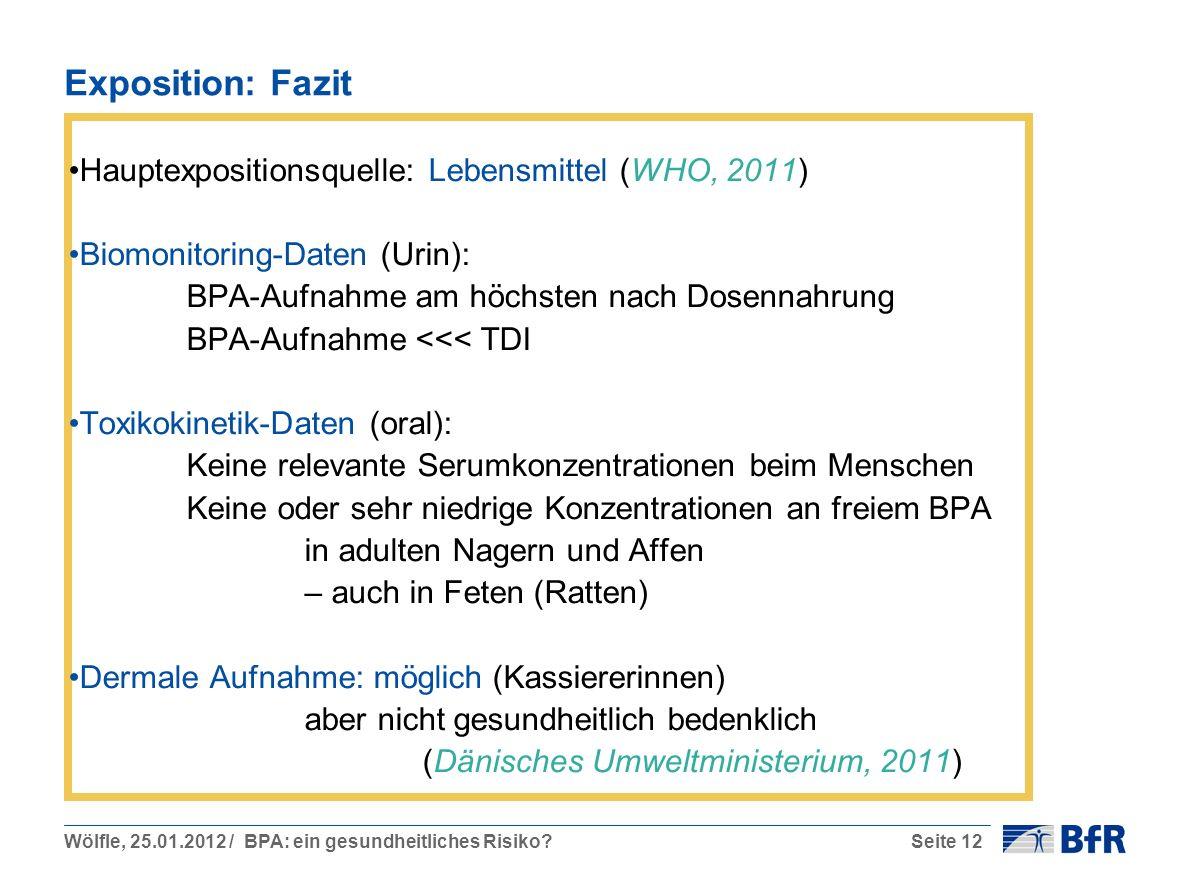 Exposition: Fazit Hauptexpositionsquelle: Lebensmittel (WHO, 2011)