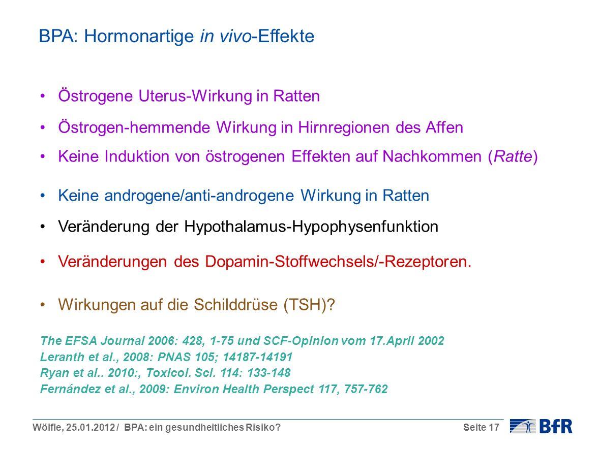 BPA: Hormonartige in vivo-Effekte