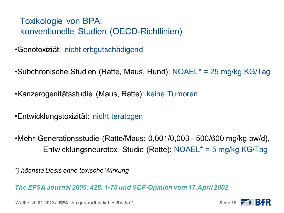 Toxikologie von BPA: konventionelle Studien (OECD-Richtlinien)