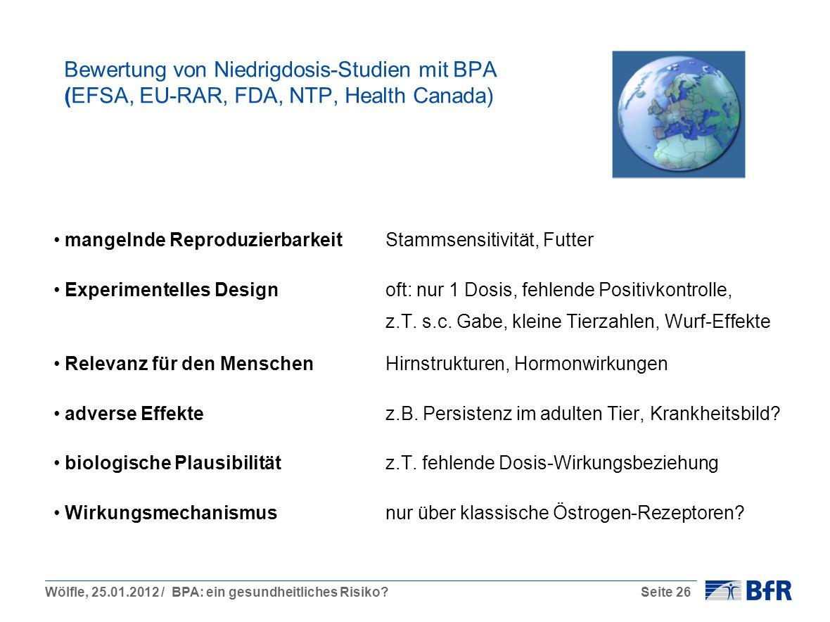 Bewertung von Niedrigdosis-Studien mit BPA (EFSA, EU-RAR, FDA, NTP, Health Canada)