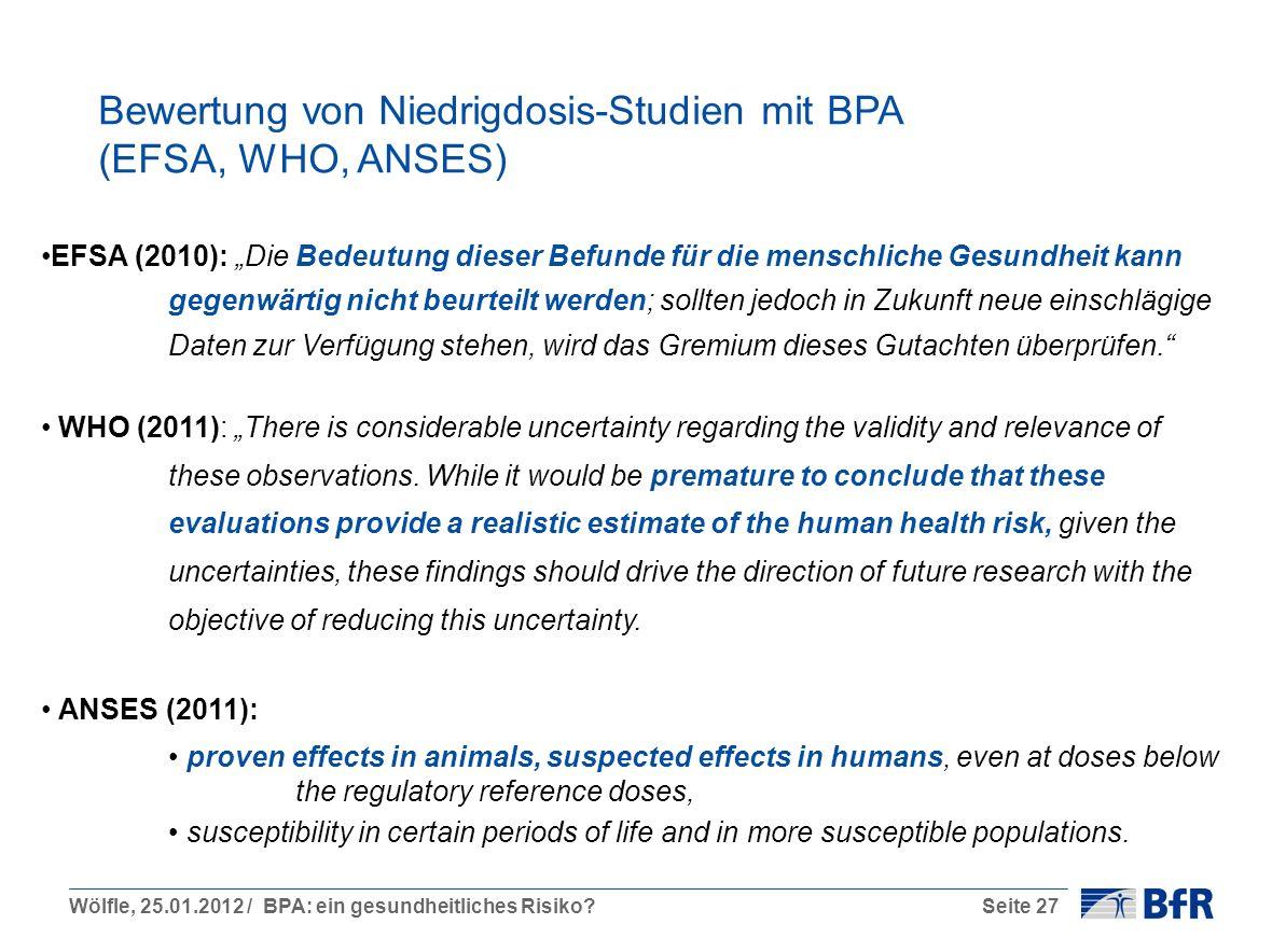 Bewertung von Niedrigdosis-Studien mit BPA (EFSA, WHO, ANSES)