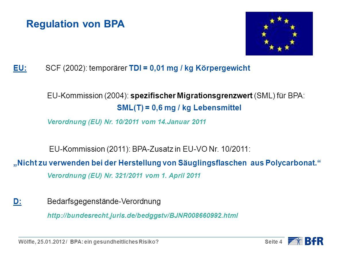 Regulation von BPA EU: SCF (2002): temporärer TDI = 0,01 mg / kg Körpergewicht.