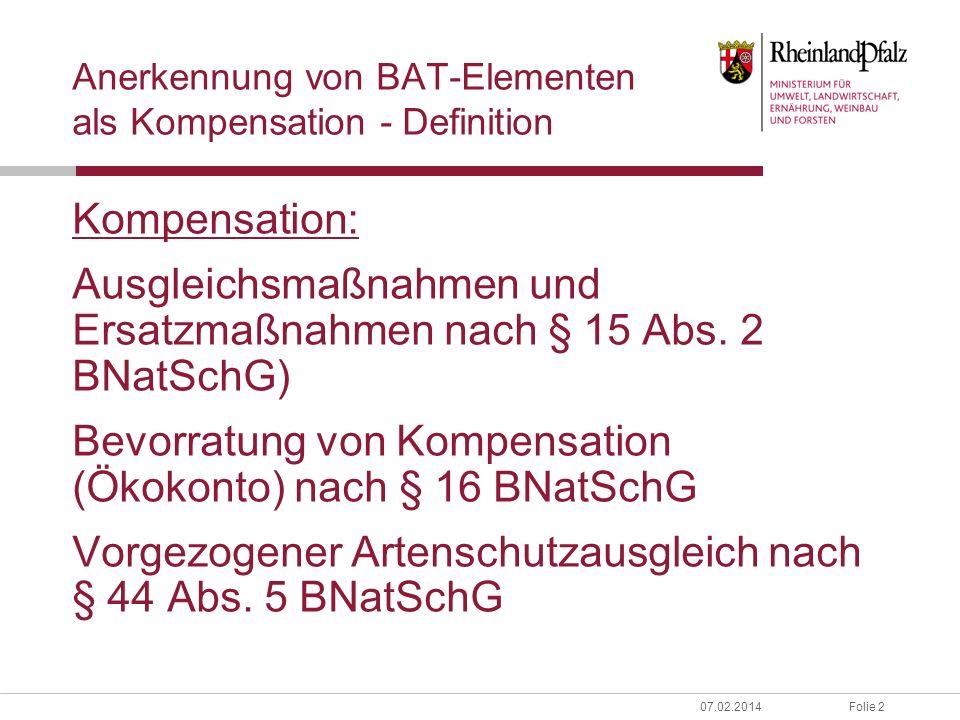Anerkennung von BAT-Elementen als Kompensation - Definition