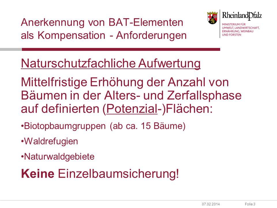 Anerkennung von BAT-Elementen als Kompensation - Anforderungen