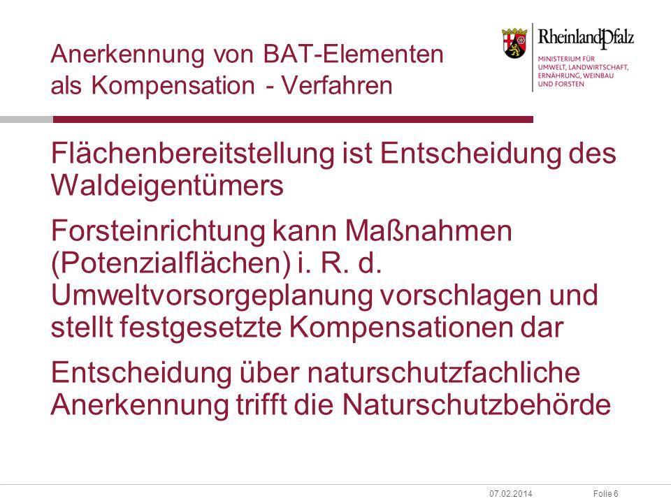 Anerkennung von BAT-Elementen als Kompensation - Verfahren