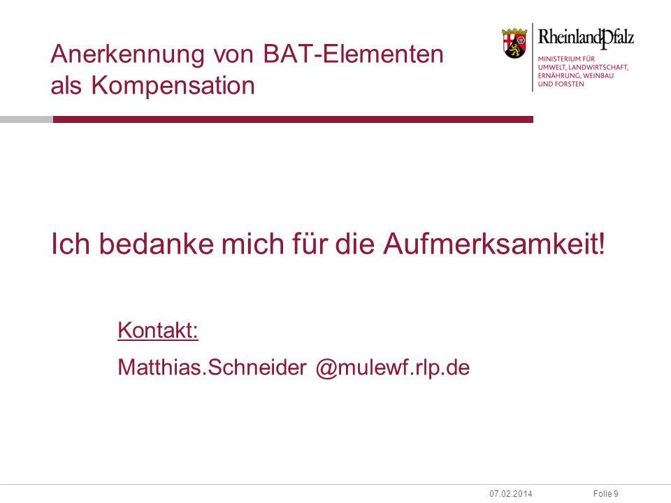 Anerkennung von BAT-Elementen als Kompensation