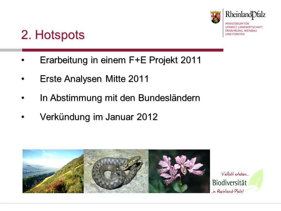 2. Hotspots Erarbeitung in einem F+E Projekt 2011