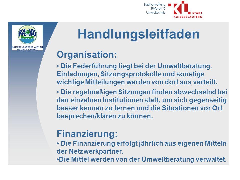 Handlungsleitfaden Organisation: Finanzierung: