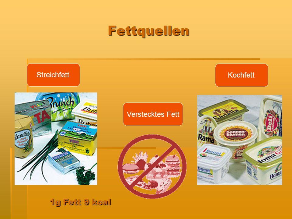 Fettquellen Streichfett Kochfett Verstecktes Fett 1g Fett 9 kcal