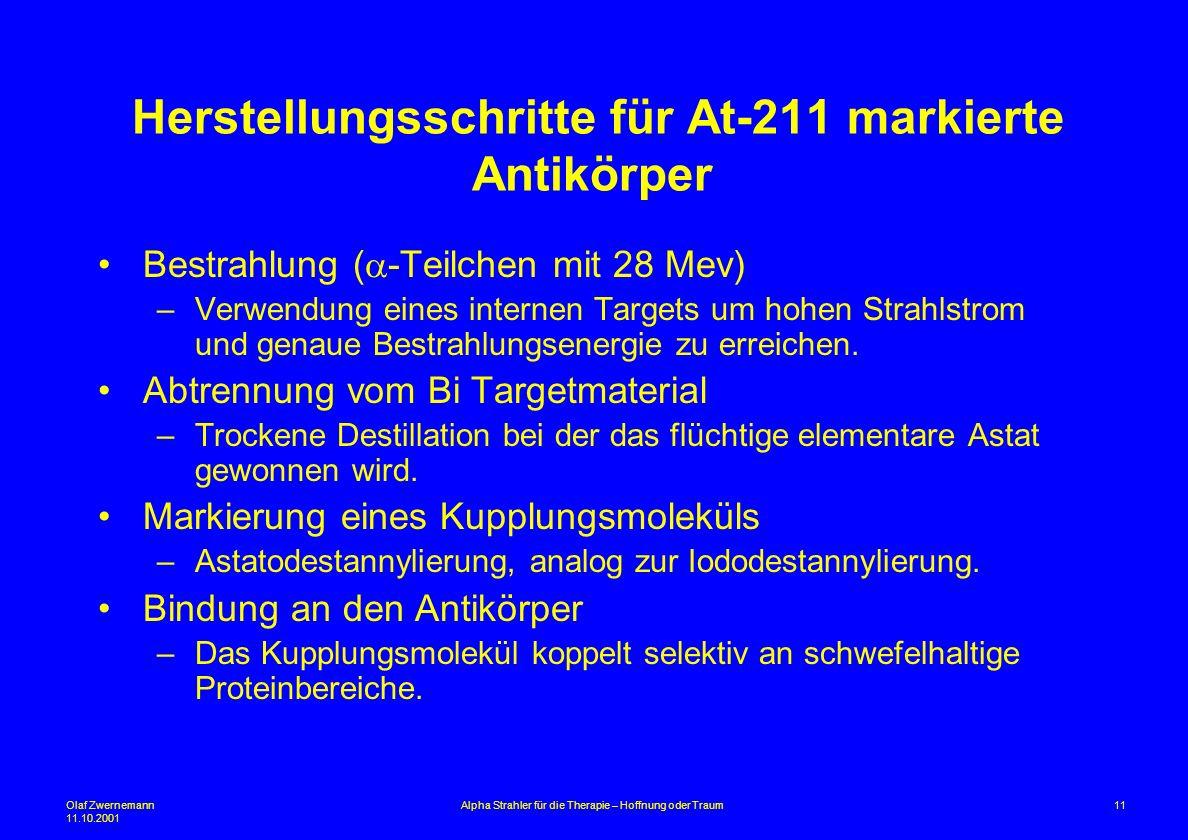Herstellungsschritte für At-211 markierte Antikörper