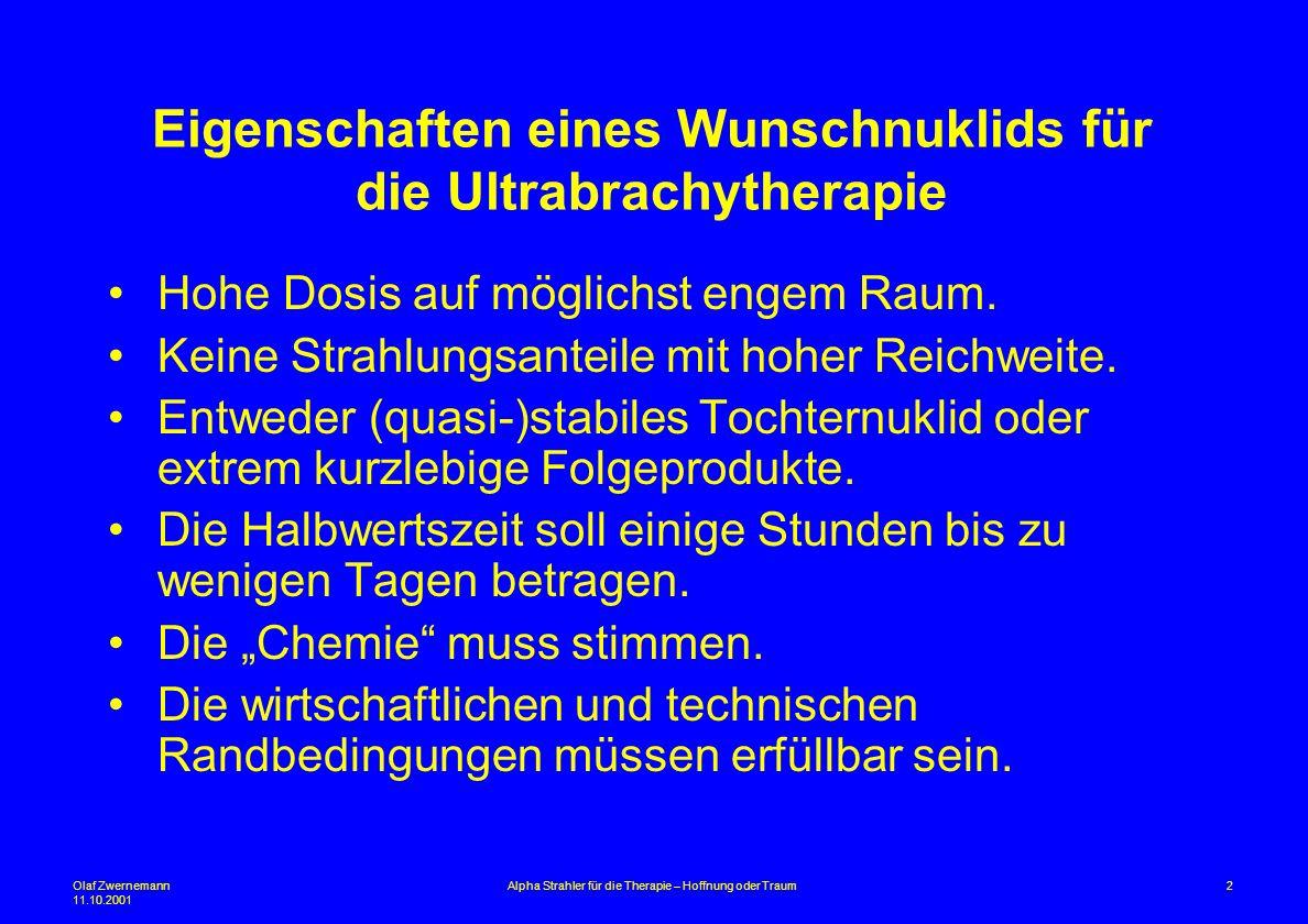 Eigenschaften eines Wunschnuklids für die Ultrabrachytherapie