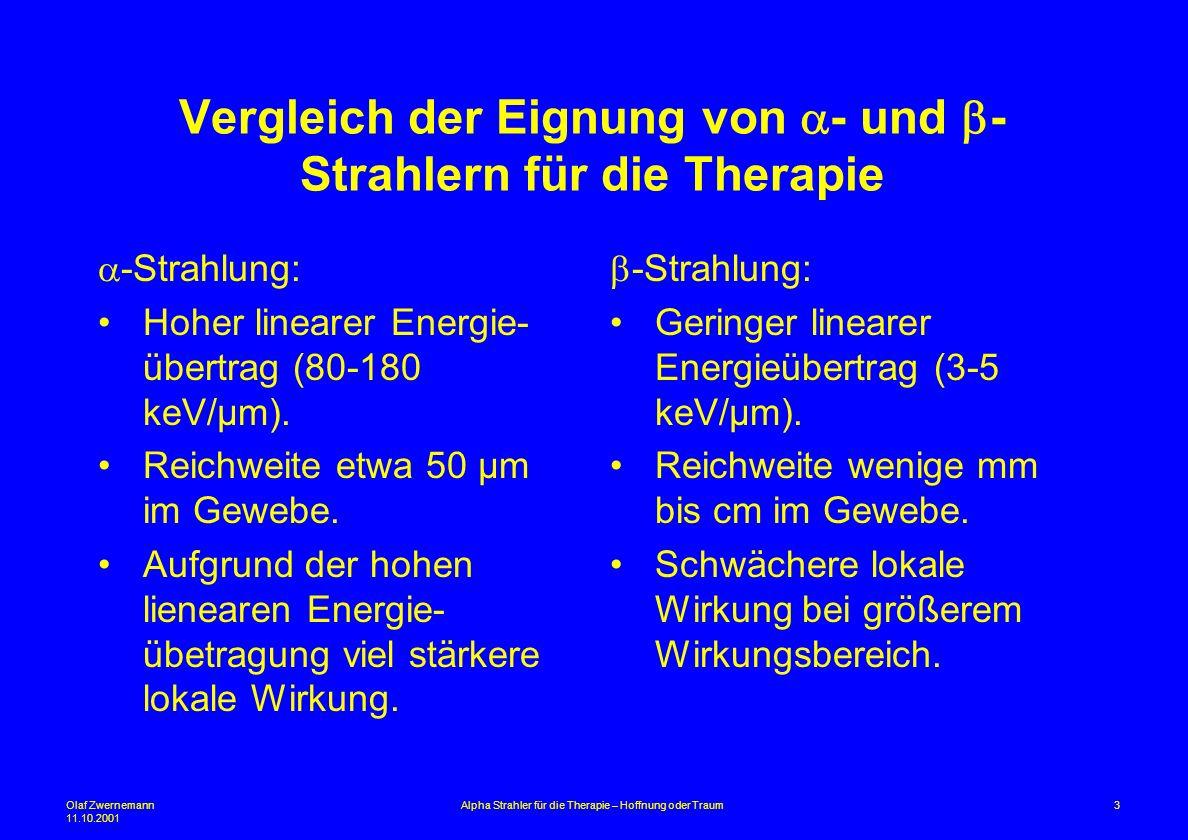 Vergleich der Eignung von a- und b-Strahlern für die Therapie
