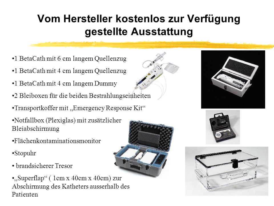 Vom Hersteller kostenlos zur Verfügung gestellte Ausstattung