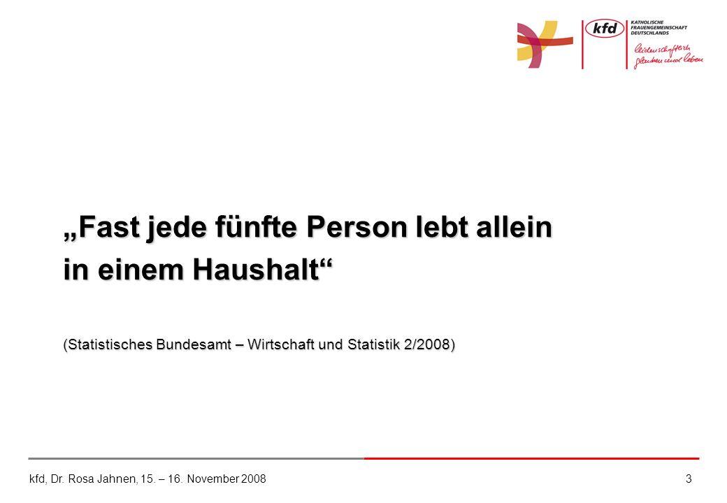 """""""Fast jede fünfte Person lebt allein in einem Haushalt (Statistisches Bundesamt – Wirtschaft und Statistik 2/2008)"""