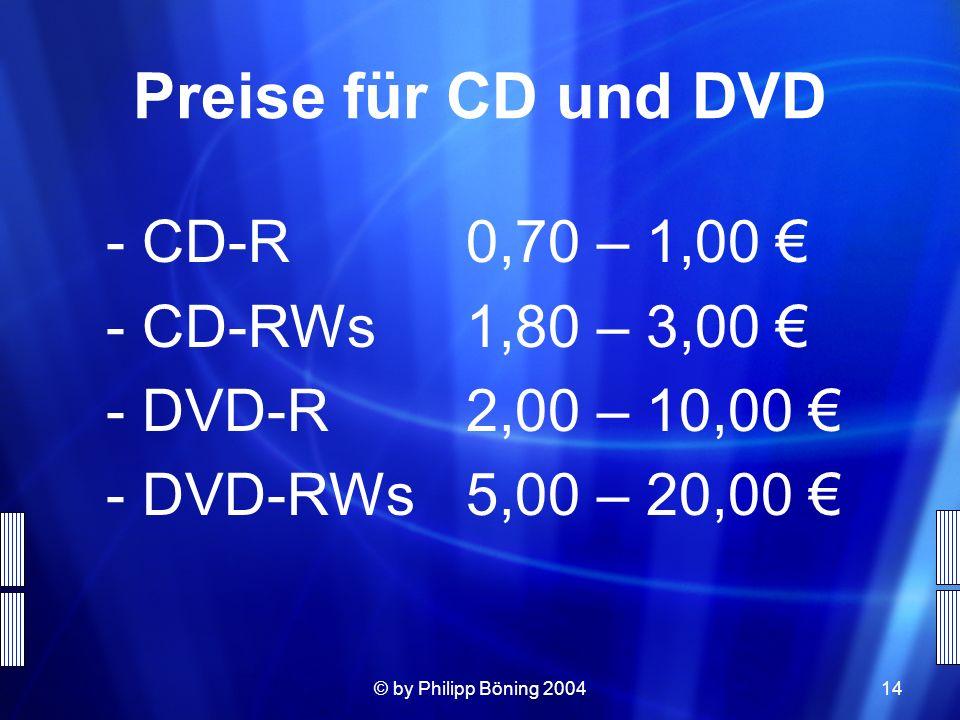 Preise für CD und DVD CD-R 0,70 – 1,00 € CD-RWs 1,80 – 3,00 €
