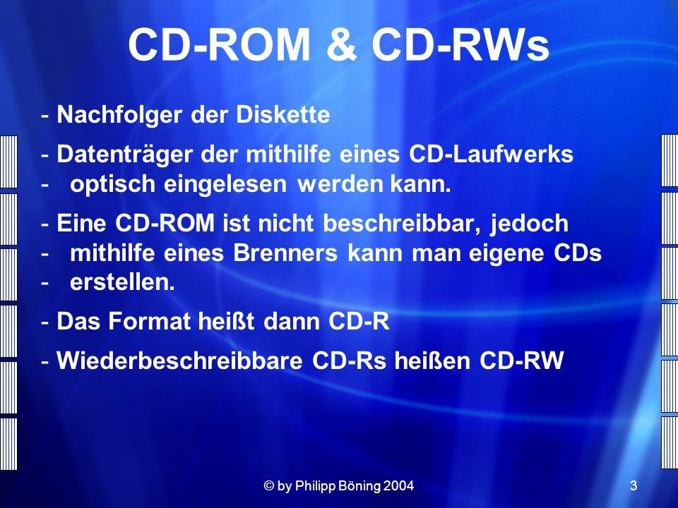 CD-ROM & CD-RWs Nachfolger der Diskette
