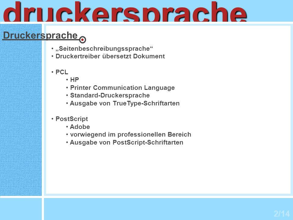 """druckersprache Druckersprache 2/14 """"Seitenbeschreibungssprache"""
