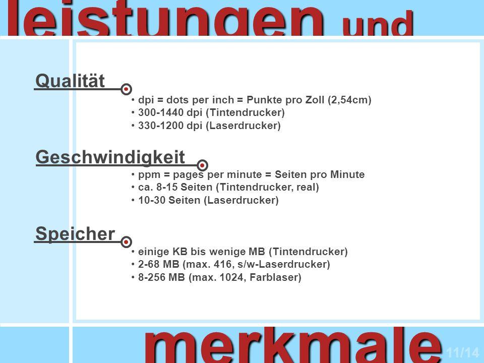 leistungen merkmale und Qualität Geschwindigkeit Speicher 11/14