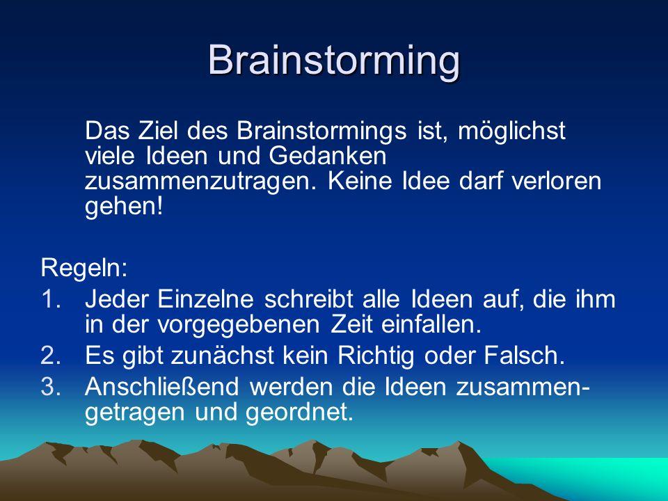 Brainstorming Das Ziel des Brainstormings ist, möglichst viele Ideen und Gedanken zusammenzutragen. Keine Idee darf verloren gehen!