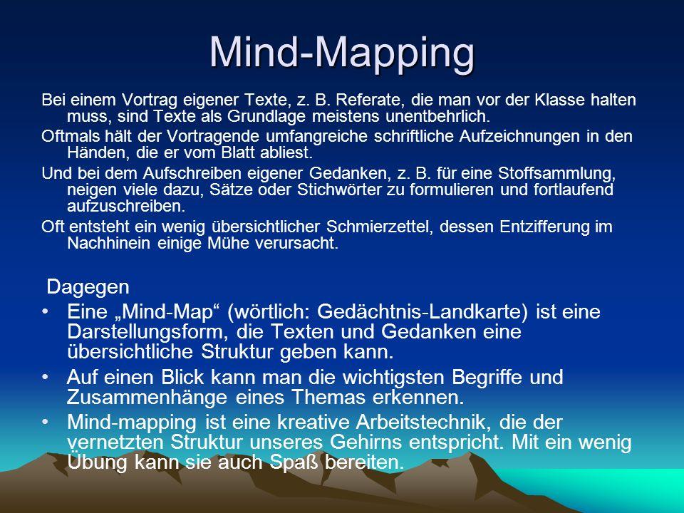 Mind-Mapping Bei einem Vortrag eigener Texte, z. B. Referate, die man vor der Klasse halten muss, sind Texte als Grundlage meistens unentbehrlich.