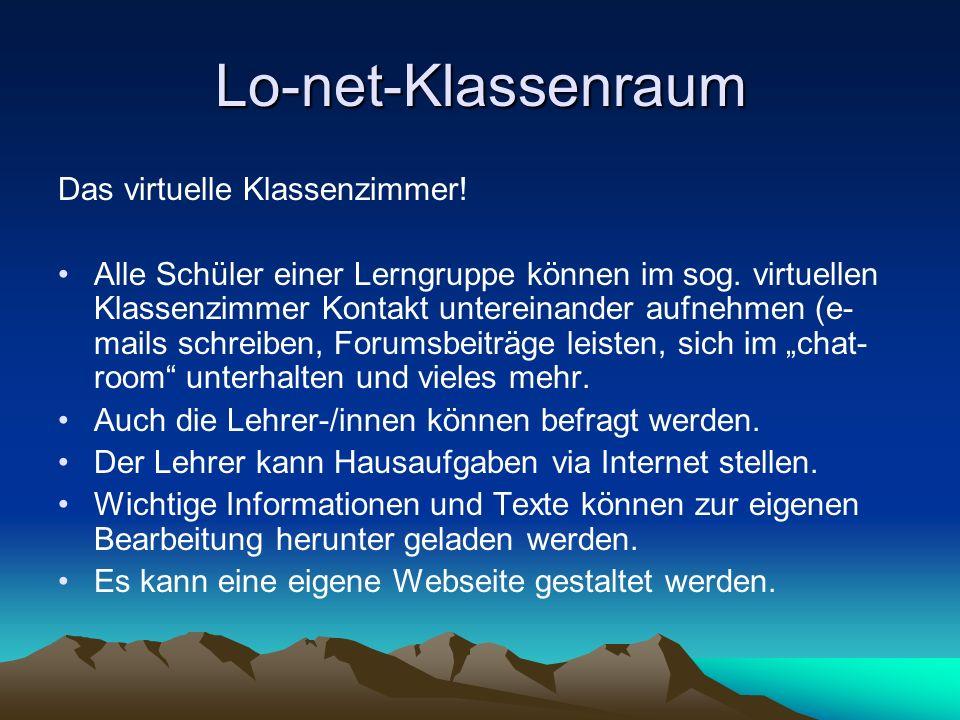 Lo-net-Klassenraum Das virtuelle Klassenzimmer!