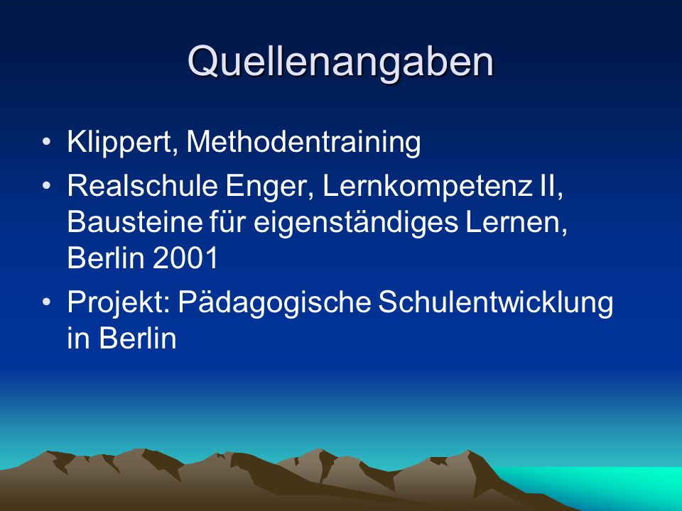 Quellenangaben Klippert, Methodentraining