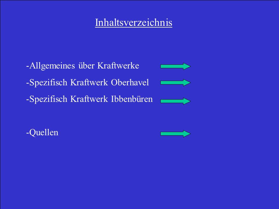 Inhaltsverzeichnis Allgemeines über Kraftwerke