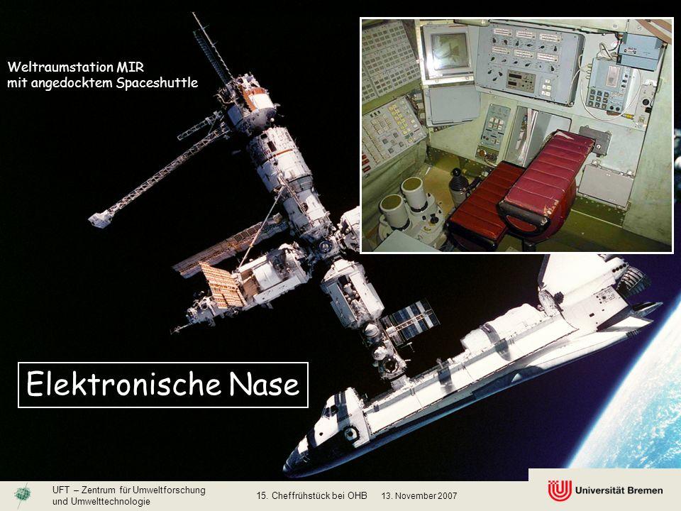 Weltraumstation MIR mit angedocktem Spaceshuttle Elektronische Nase