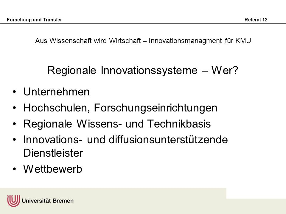 Aus Wissenschaft wird Wirtschaft – Innovationsmanagment für KMU