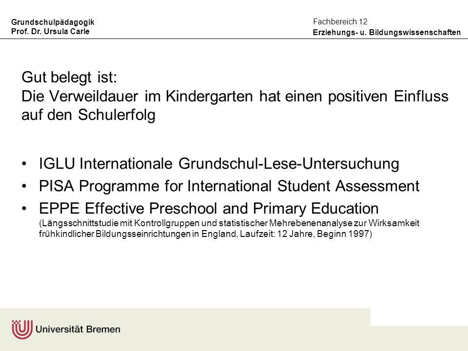 Gut belegt ist: Die Verweildauer im Kindergarten hat einen positiven Einfluss auf den Schulerfolg