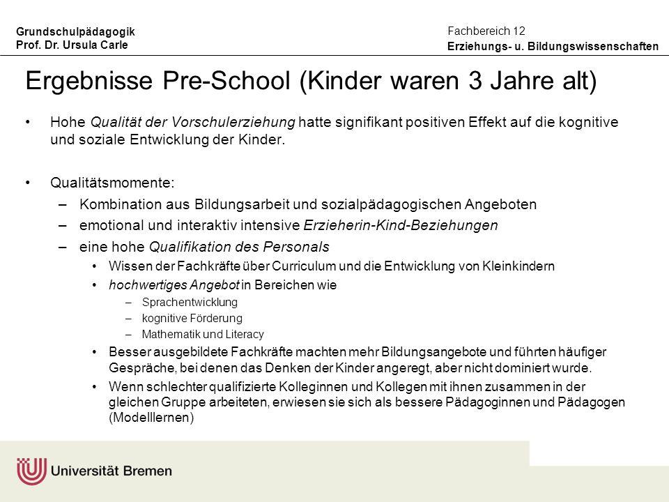 Ergebnisse Pre-School (Kinder waren 3 Jahre alt)
