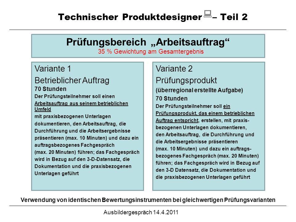 Technischer Produktdesigner – Teil 2