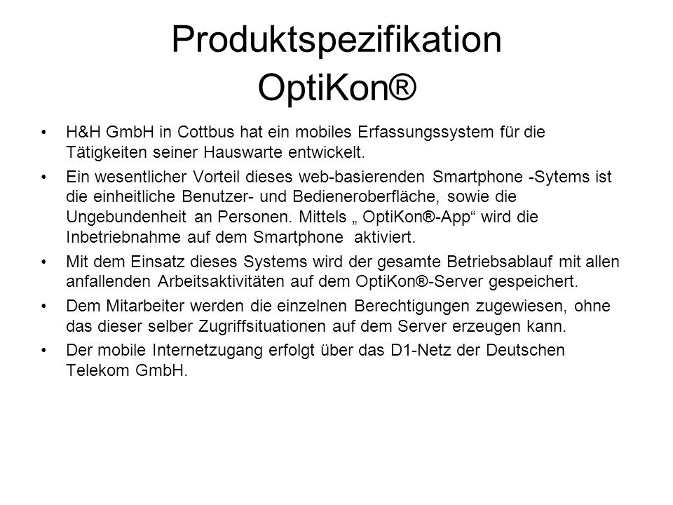 Produktspezifikation OptiKon®