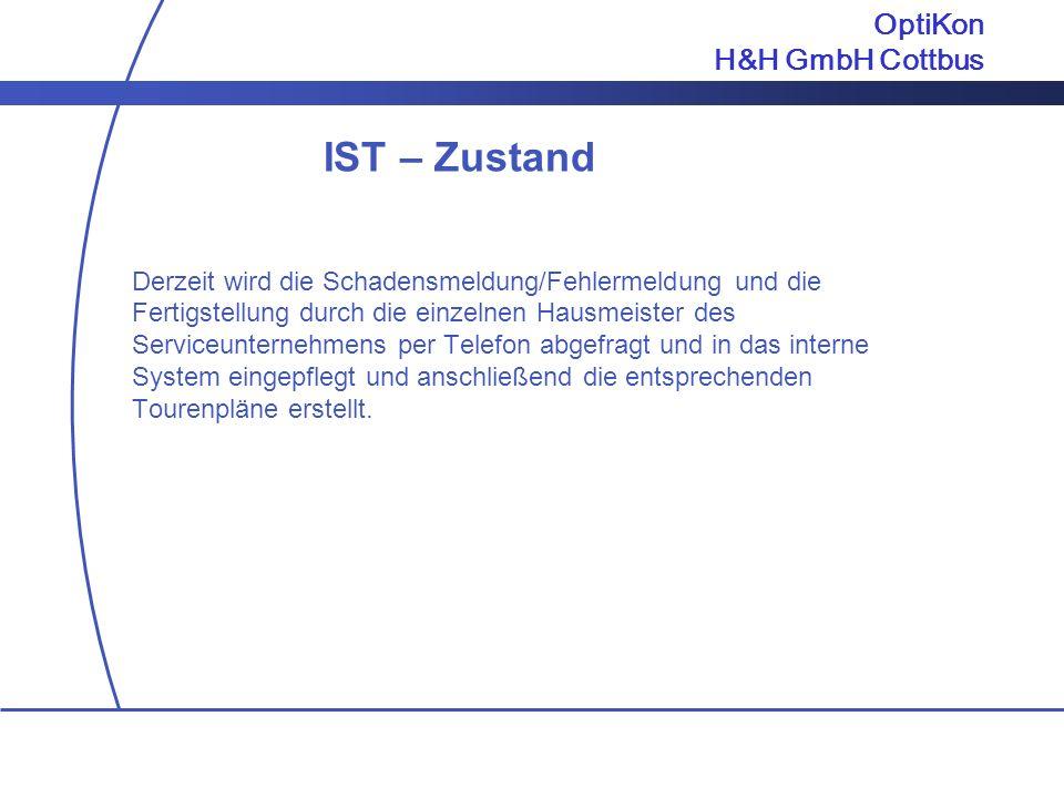 IST – Zustand OptiKon H&H GmbH Cottbus