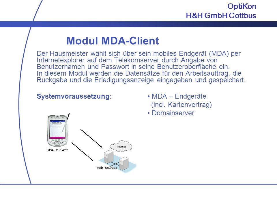 Modul MDA-Client OptiKon H&H GmbH Cottbus
