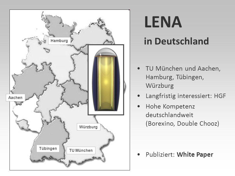 LENA in Deutschland TU München und Aachen, Hamburg, Tübingen, Würzburg